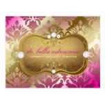 311 Glamorous Golden Pink Damask Postcards