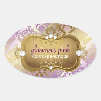 311 Glamorous Lilac Damask Oval Sticker