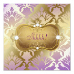 "311 Glamorous Lilac Damask Surprise 5.25"" Square Invitation Card"