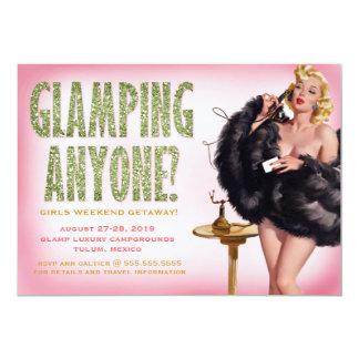 """311 Glamping cualquier persona chica modelo retro Invitación 5"""" X 7"""""""