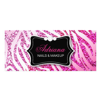 311 Glitter Zebra Pink Custom Rack Card