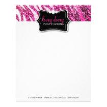 311 Glitter Zebra Pink Letterhead
