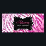 """311 Glitter Zebra Pink Rack Card<br><div class=""""desc"""">Design by Jill McAmis,  copyright 2012.</div>"""