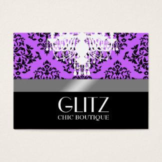 311-Glitz Boutique - Black Damask Purple Business Card