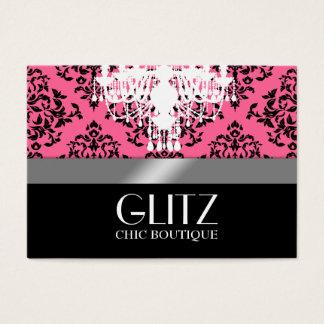 311-Glitz Boutique - Black Damask Rose Pink Business Card