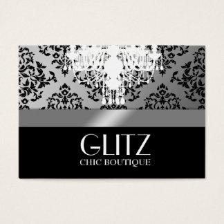 311 Glitz Boutique  Black Damask Silver Business Card