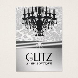 311 Glitz Boutique Leopard Diamond Faux Silver Business Card