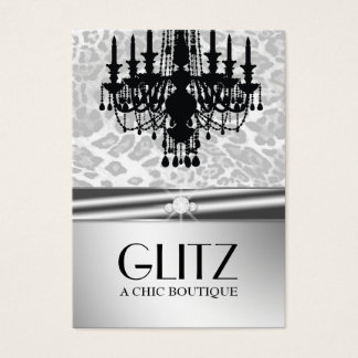 311 Glitz Boutique - Leopard Diamond Faux Silver Business Card