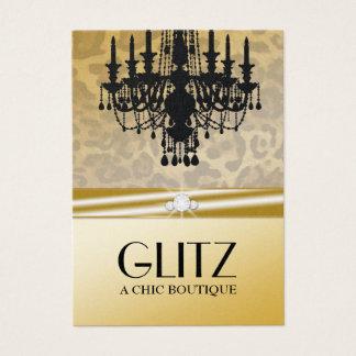 311-Glitz Boutique - Leopard Diamond Golden Business Card