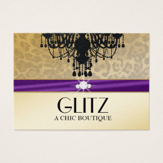 311 Glitz Boutique Leopard Eggplant Purple Business Card