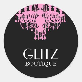 311 Glitz Boutique Pink Chandelier Classic Round Sticker