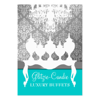 311 Glitzie Candie Turquoise & Black Silver Fade Large Business Cards (Pack Of 100)