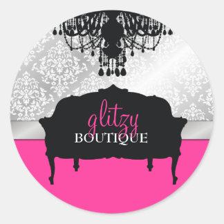 311 Glitzy Chic Boutique Hot Pink Classic Round Sticker