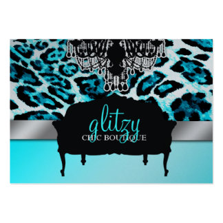 311 Glitzy Chic Boutique Leopard Turquoise Metalli Large Business Cards (Pack Of 100)
