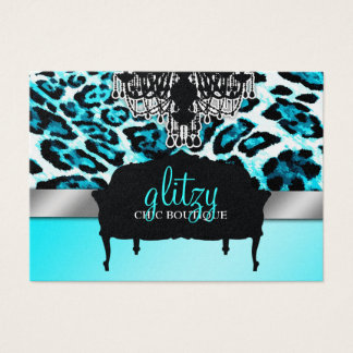 311 Glitzy Chic Boutique Leopard Turquoise Metalli Business Card