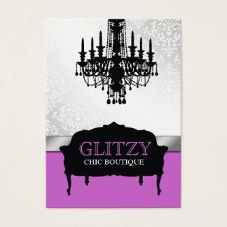 311-Glitzy Chic Boutique - Purple Vertical Business Card