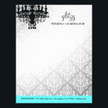 """311 Glitzy Chic Boutique Turquoise Letterhead<br><div class=""""desc"""">Design by Jill McAmis,  copyright 2012. Background color can be changed and design elements moved or size adjusted.</div>"""