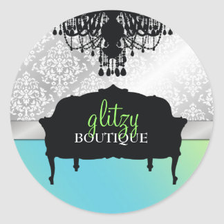 311 Glitzy Chic Boutique - Turquoise Lime Classic Round Sticker