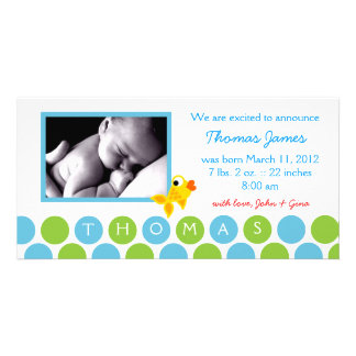 311-GOLD FINZ BABY BOY ANNOUNCEMENT 2 PHOTO CARD