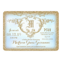 311 Gold Glitter Monogram Baby Boy Shower Card