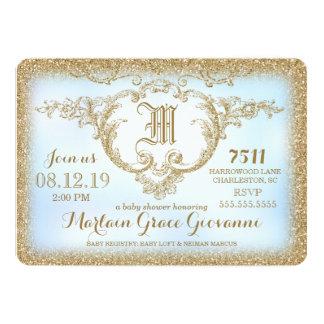 311 Gold Glitter Monogram Baby Boy Shower 5x7 Paper Invitation Card
