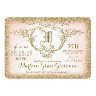311 Gold Glitter Monogram Baby Shower 5x7 Paper Invitation Card