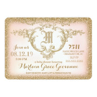 311 Gold Glitter Monogram Baby Shower Card