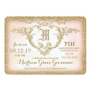 Monogram baby shower invitations zazzle 311 gold glitter monogram baby shower invitation filmwisefo