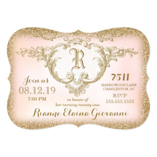 311 Gold Glitter Monogram Birthday Invitation