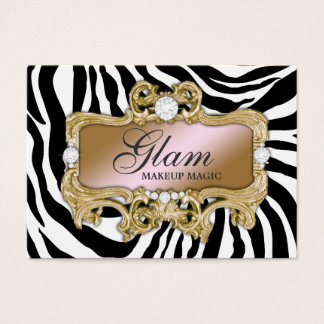 311 Gold Zebra Glam Crazy Pink Gold Business Card
