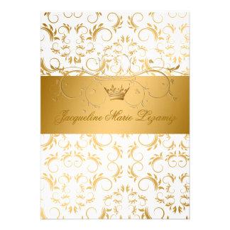 311-Golden adivinan el dulce blanco 16 del placer Invitacion Personalizada