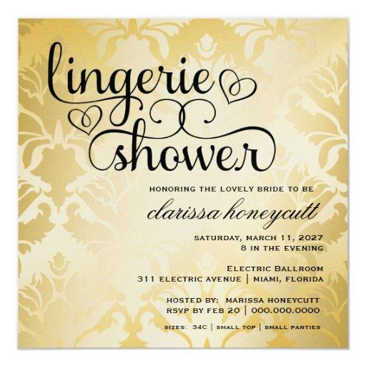 311 Golden Damask Shimmer Bridal Shower Card