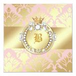 311 Golden Damask Shimmer Queen Baby Shower Card