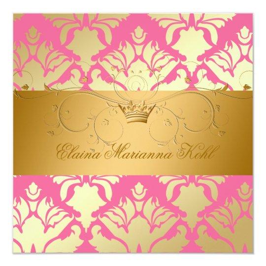 311-Golden Damask Shimmer Strawberry Brulee Card