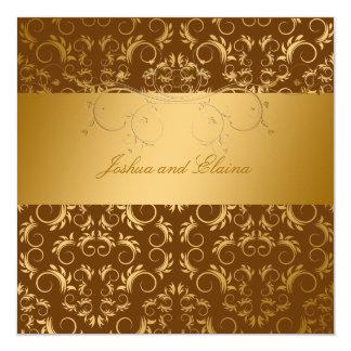 311-Golden diVine Chocolate Brown 5.25 x 5.25 5.25x5.25 Square Paper Invitation Card