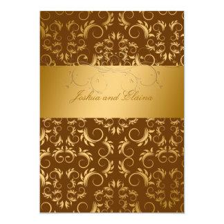 311-Golden diVine | Chocolate 5x7 Paper Invitation Card