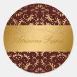 311-Golden Divine Chocolate Round Stickers
