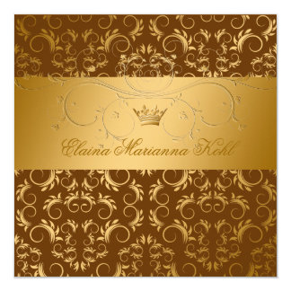 311-Golden diVine Chocolate Sweet 16 Card