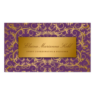 311-Golden diVine Eggplant Purple Double-Sided Standard Business Cards (Pack Of 100)