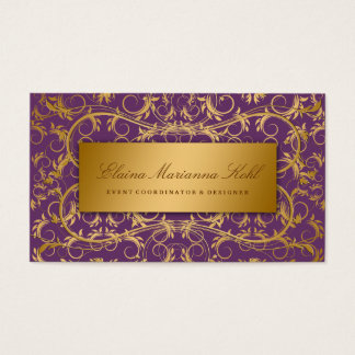 311-Golden diVine Eggplant Purple Business Card