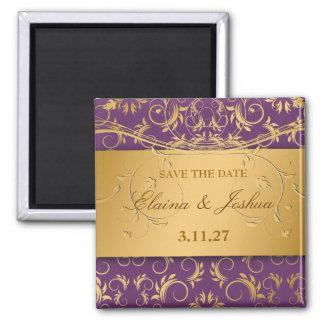 311-Golden diVine Eggplant Purple Save the Date 2 Inch Square Magnet