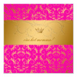 311 Golden diVine Passion Pink Baby Shower 5.25x5.25 Square Paper Invitation Card