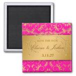 311-Golden diVine Passion Pinkt Save the Date Fridge Magnets
