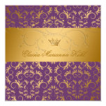 311-Golden diVine Purple Royale Sweet 16 5.25x5.25 Square Paper Invitation Card