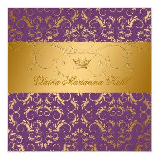 311-Golden diVine Purple Royale Sweet 16 Invites