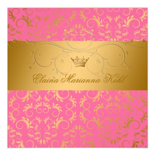 311-Golden diVine Strawberry Brulee Sweet 16 Personalized Invites