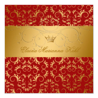 311-Golden diVine Sweet Cherry Red Sweet 16 Card