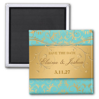 311-Golden diVine Turquoise Rapture  Save the Date Magnet