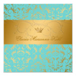 311-Golden diVine Turquoise Rapture Sweet 16 5.25x5.25 Square Paper Invitation Card