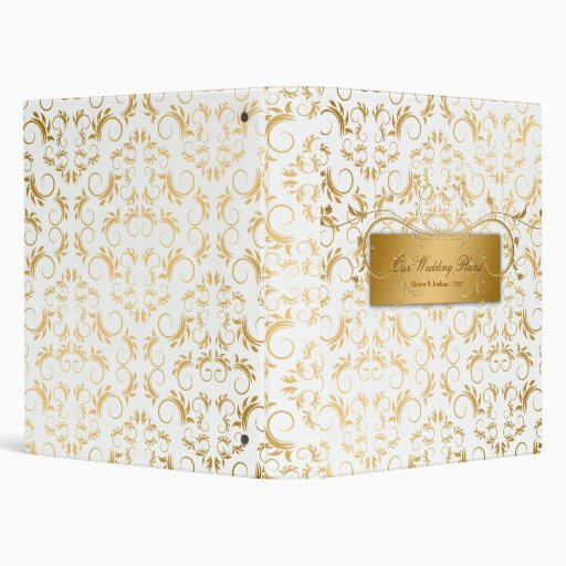 311-Golden diVine Wedding White Delight 3 Ring Binder